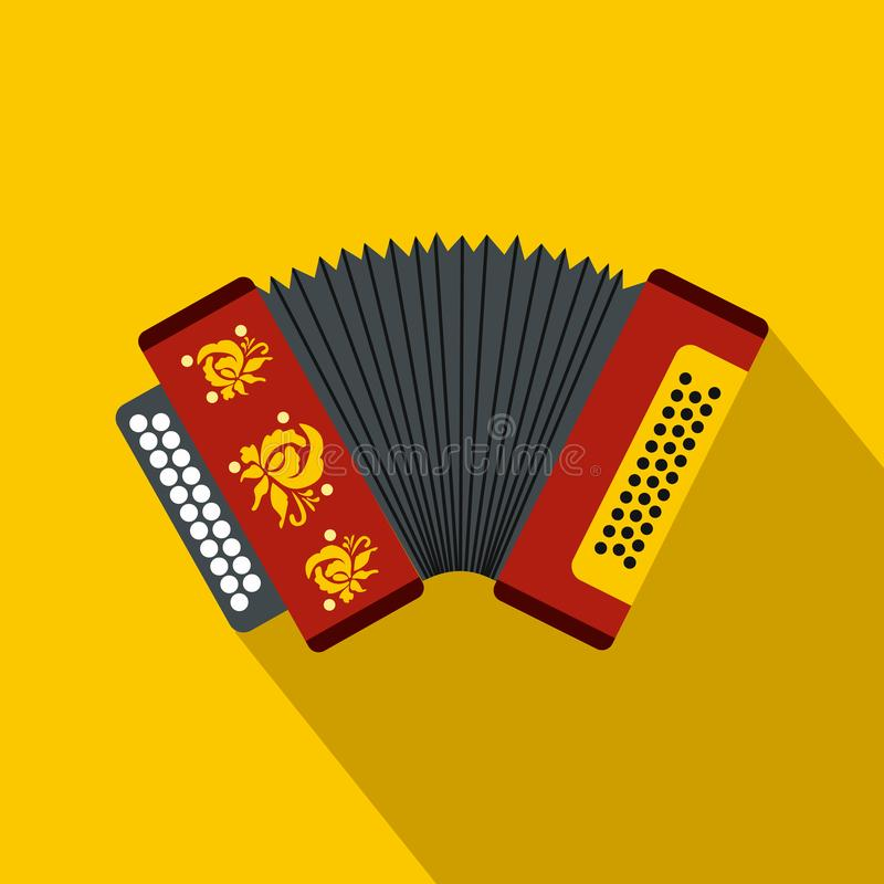 Accordion icon, flat style. Accordion icon in flat style on a yellow background stock illustration