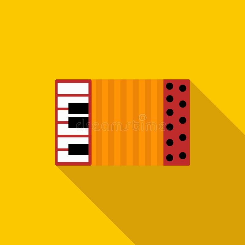 Accordion icon in flat style. On a yellow background vector illustration