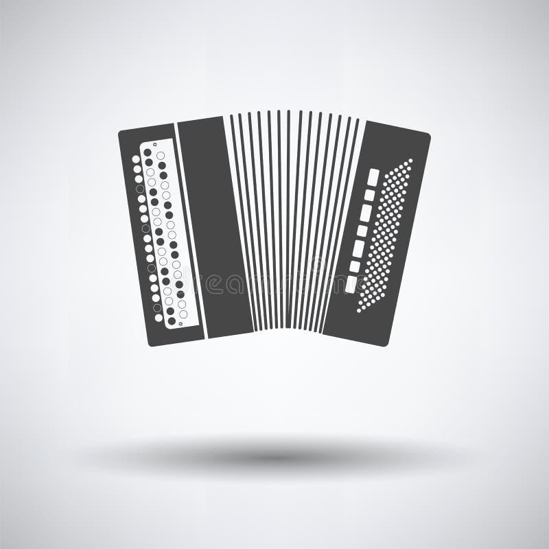 Accordion icon. On gray background, round shadow. Vector illustration stock illustration