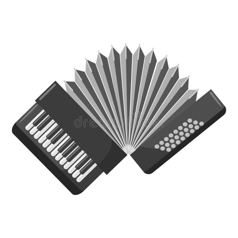 Accordion icon, gray monochrome style. Accordion icon. Gray monochrome illustration of accordion icon for web royalty free illustration