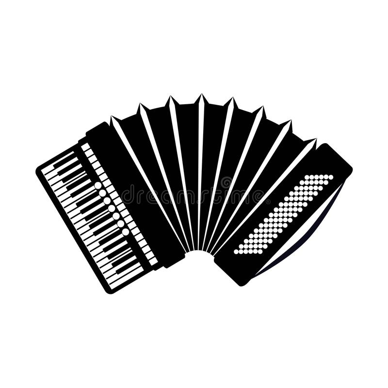 Accordion icon, isolated on white background. Musical instrument icon. Vector illustration stock illustration