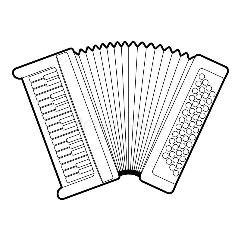 Accordion icon, outline style. Accordion icon. Outline illustration of accordion icon for web vector illustration