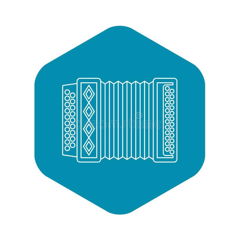 Accordion icon, outline style. Accordion icon. Outline illustration of accordion vector icon for web stock illustration