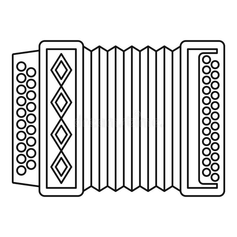 Accordion icon, outline style. Accordion icon. Outline illustration of accordion icon for web royalty free illustration