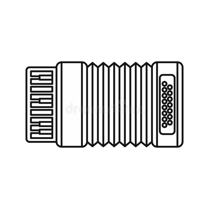 Accordion icon, outline style. Accordion icon in outline style isolated on white background. Musical instrument symbol illustration royalty free illustration