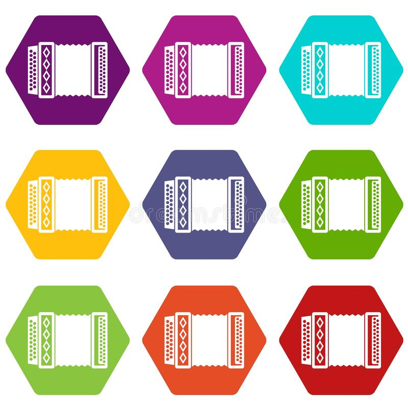 Accordion icon set color hexahedron. Accordion icon set many color hexahedron isolated on white vector illustration stock illustration