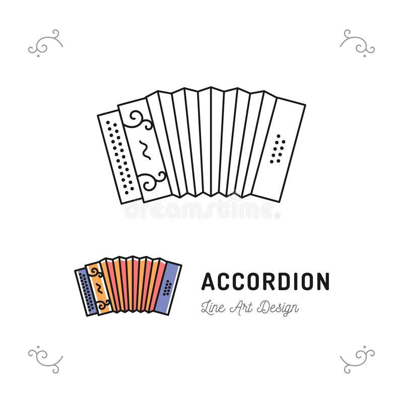 Accordion icon thin line art symbols, Accordions musical instruments. Vector outline illustration. Accordion icon thin line art symbols, Accordions musical royalty free illustration