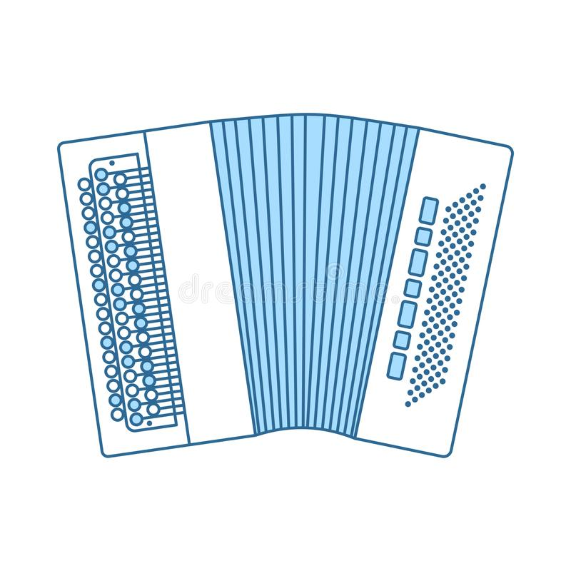Accordion Icon. Thin Line With Blue Fill Design. Vector Illustration royalty free illustration