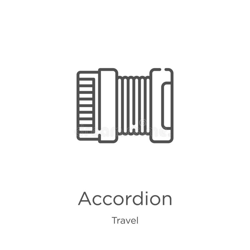 Accordion icon vector from travel collection. Thin line accordion outline icon vector illustration. Outline, thin line accordion. Accordion icon. Element of stock illustration