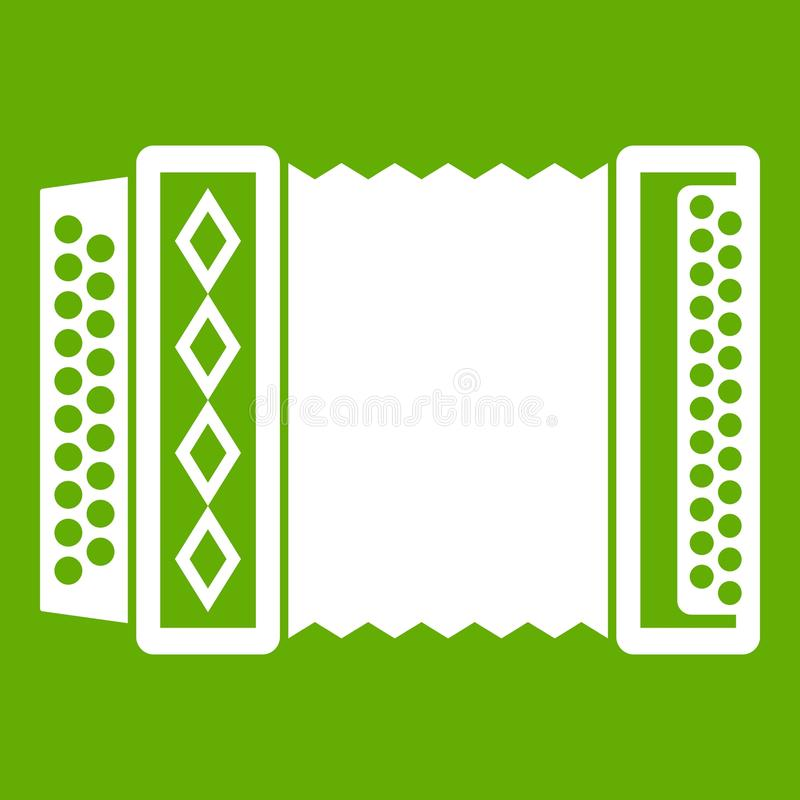 Accordion icon green. Accordion icon white isolated on green background. Vector illustration vector illustration