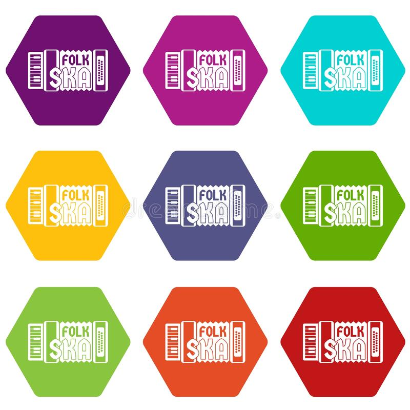 Accordion icons set 9 vector. Accordion icons 9 set coloful isolated on white for web vector illustration