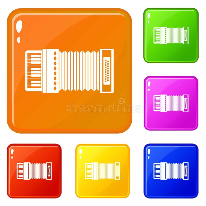 Accordion icons set vector color. Accordion icons set collection vector 6 color isolated on white background stock illustration
