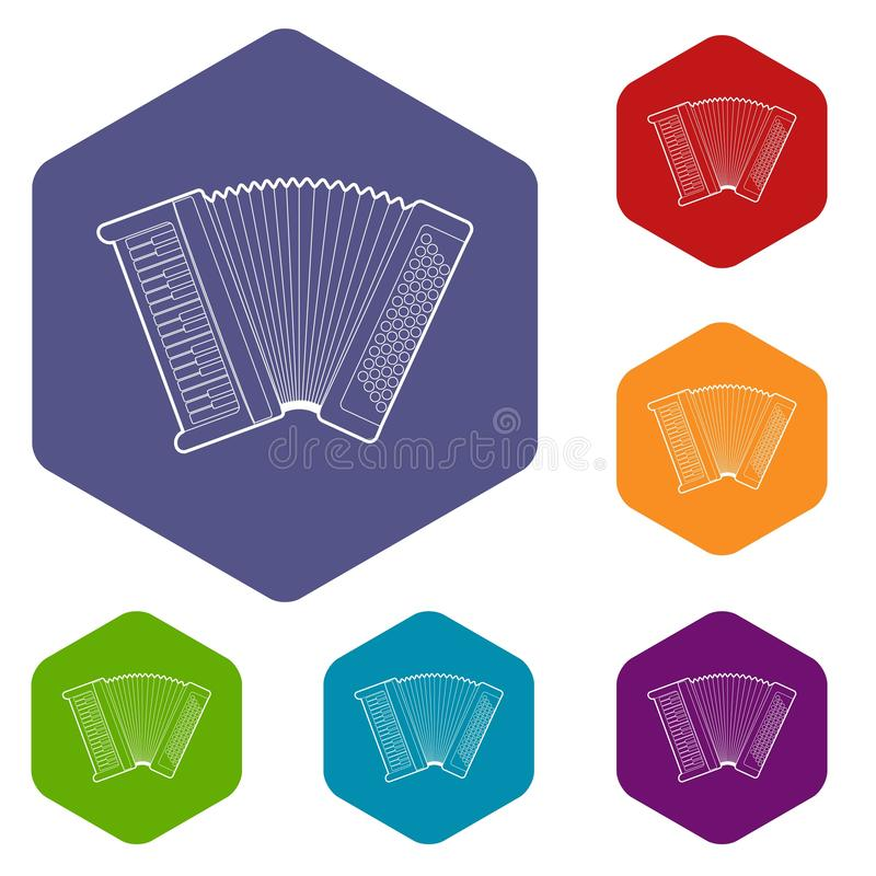 Accordion icons vector hexahedron. Accordion icons vector colorful hexahedron set collection isolated on white royalty free illustration
