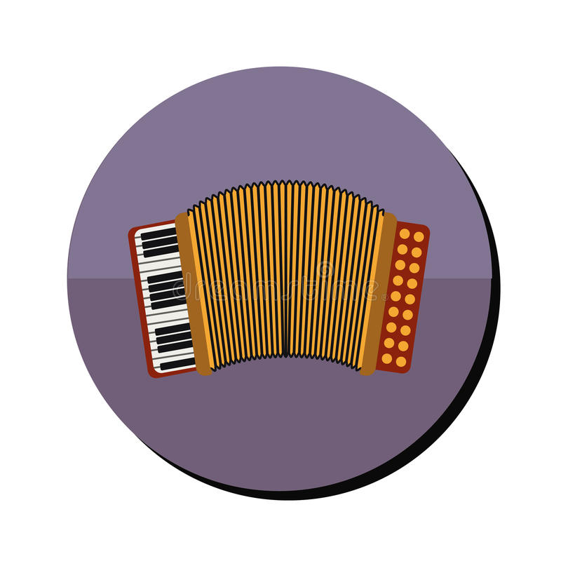 Accordion with keyboard in round frame. Vector illustration vector illustration