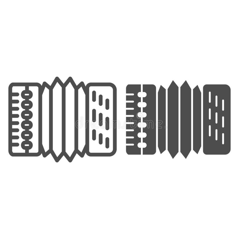 Accordion line and glyph icon. Harmonica vector illustration isolated on white. Musical instrument outline style design. Designed for web and app. Eps 10 royalty free illustration