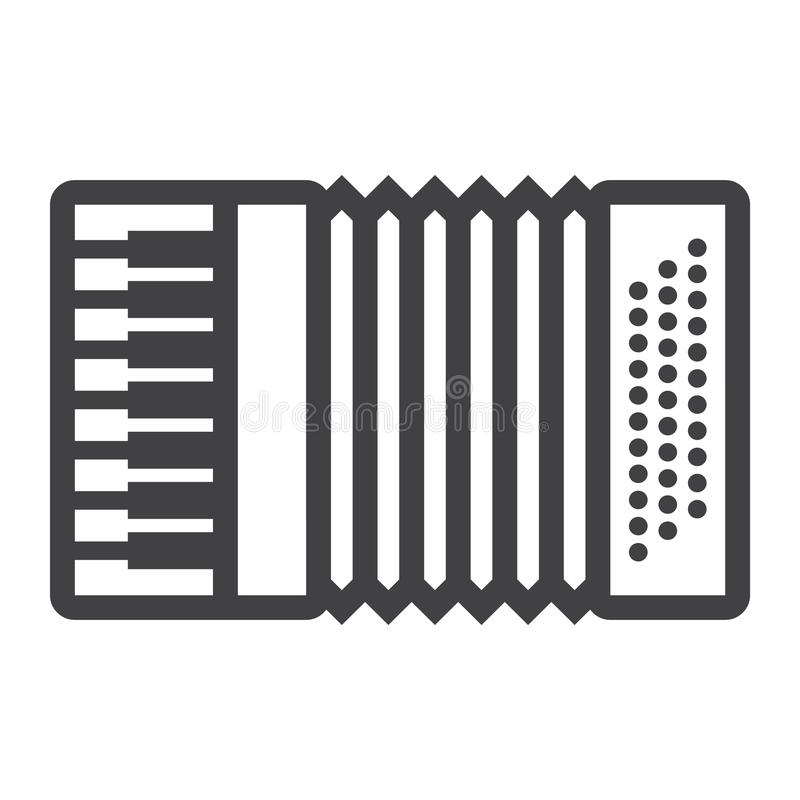 Accordion line icon, music and instrument. Sound sign vector graphics, a linear pattern on a white background, eps 10 stock illustration