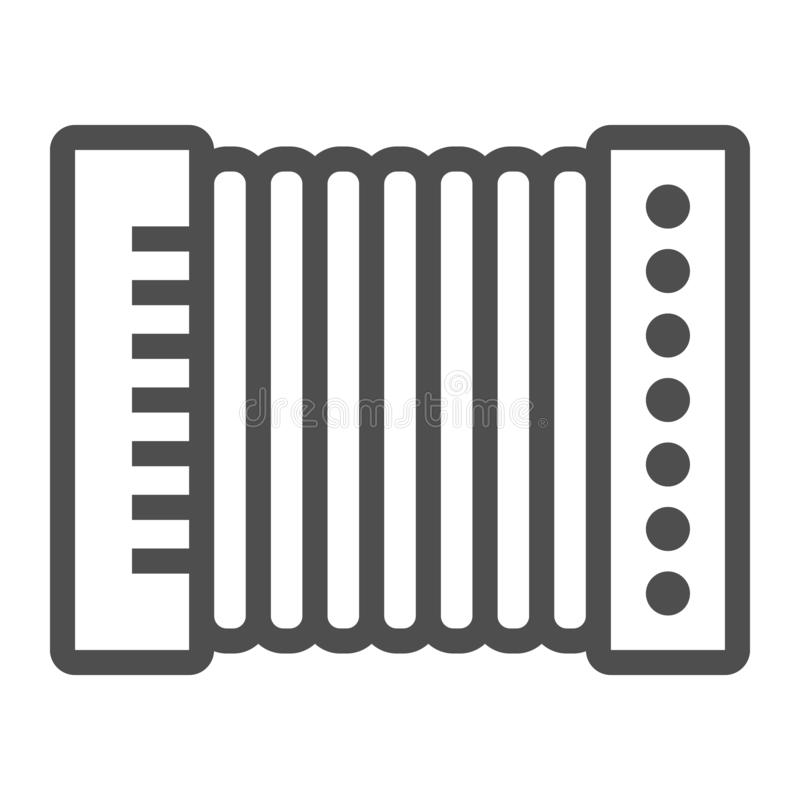 Accordion line icon, musical and instrument, harmonica sign, vector graphics, a linear pattern on a white background. Accordion line icon, musical and stock illustration