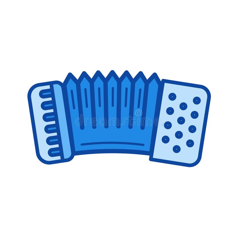 Accordion line icon. Accordion vector line icon isolated on white background. Accordion line icon for infographic, website or app. Blue icon designed on a grid stock illustration
