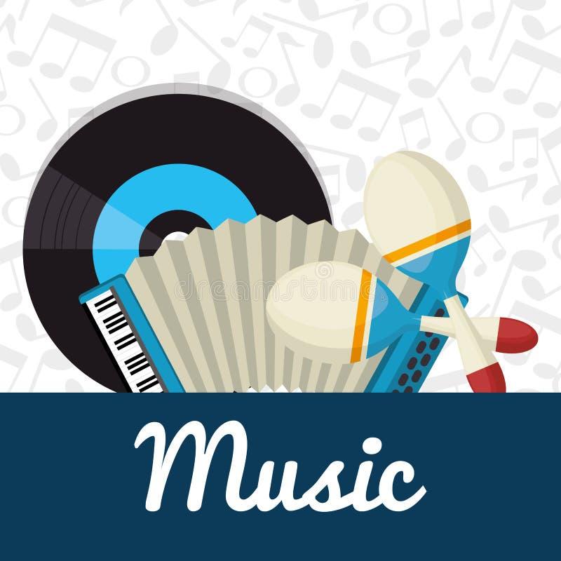 Accordion with maracas and vinyl. Vector illustration design stock illustration