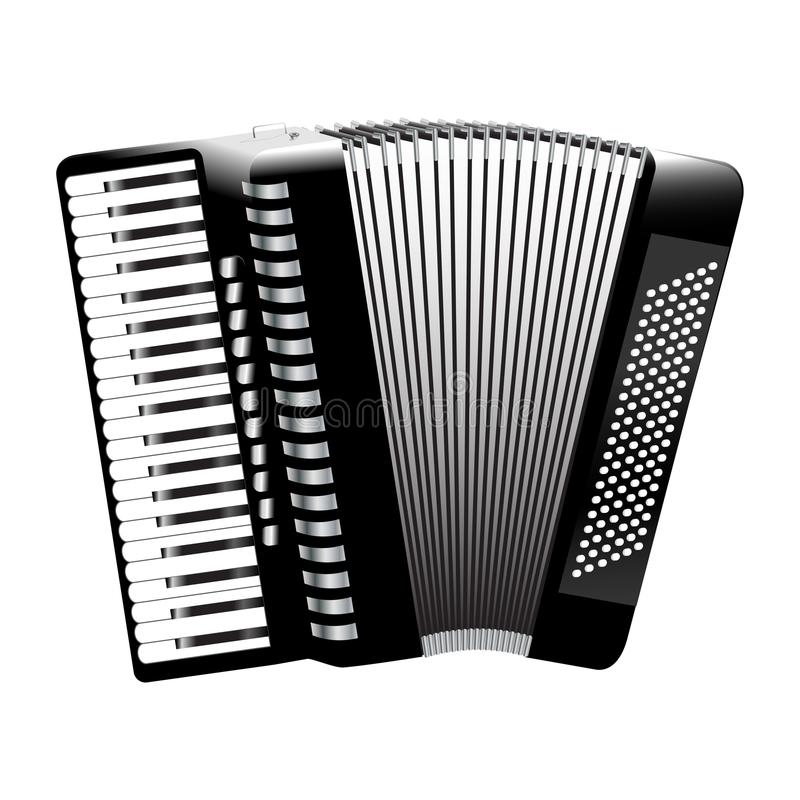 Accordion monochrome. Realistic icon isolated on white background stock illustration