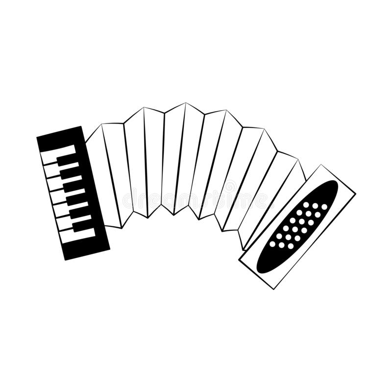 Accordion music instrument in black and white. Accordion music instrument vector illustration graphic design vector illustration