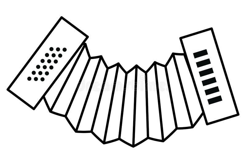 Accordion music instrument. In black and white vector illustration graphic design vector illustration