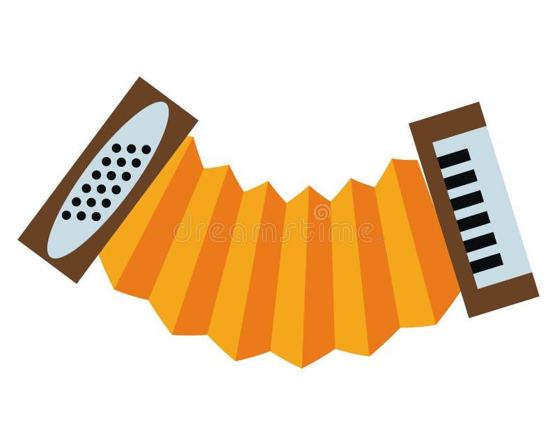 Accordion music instrument. Isolated vector illustration graphic design stock illustration