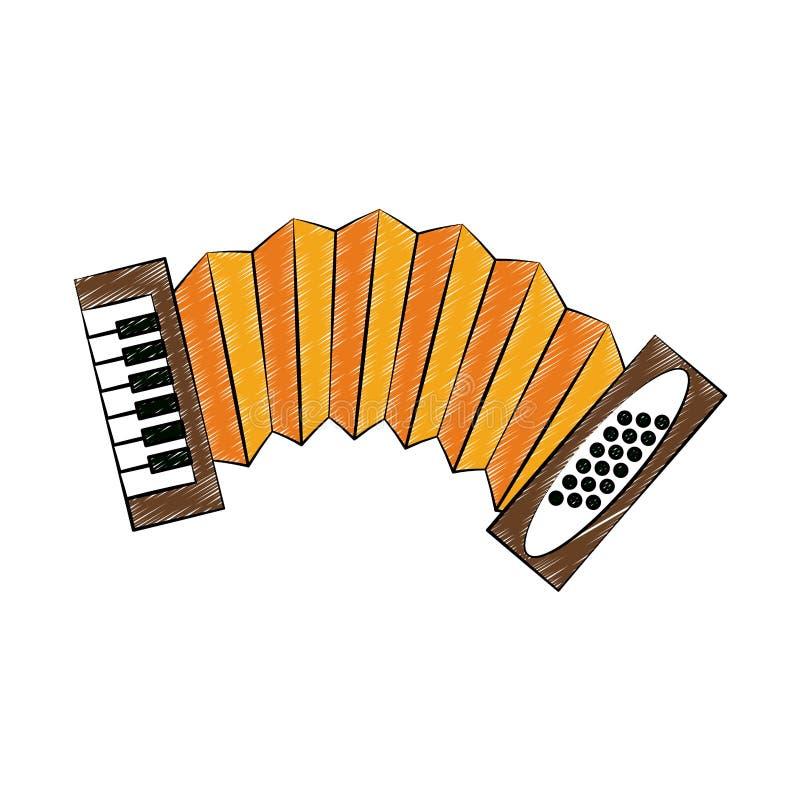 Accordion music instrument scribble. Accordion music instrument vector illustration graphic design stock illustration