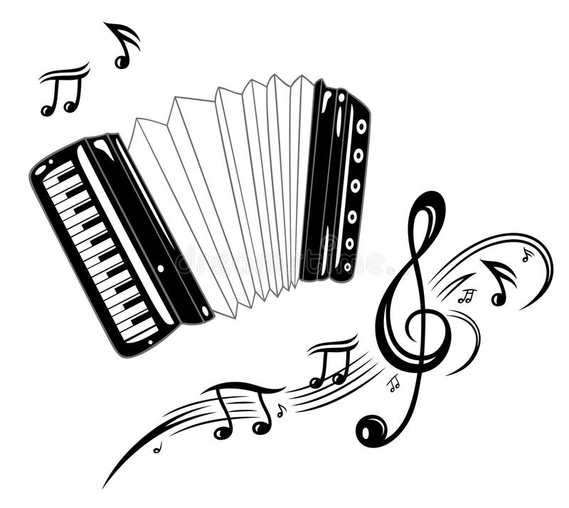 Accordion, music. Al instrument with music notes stock illustration