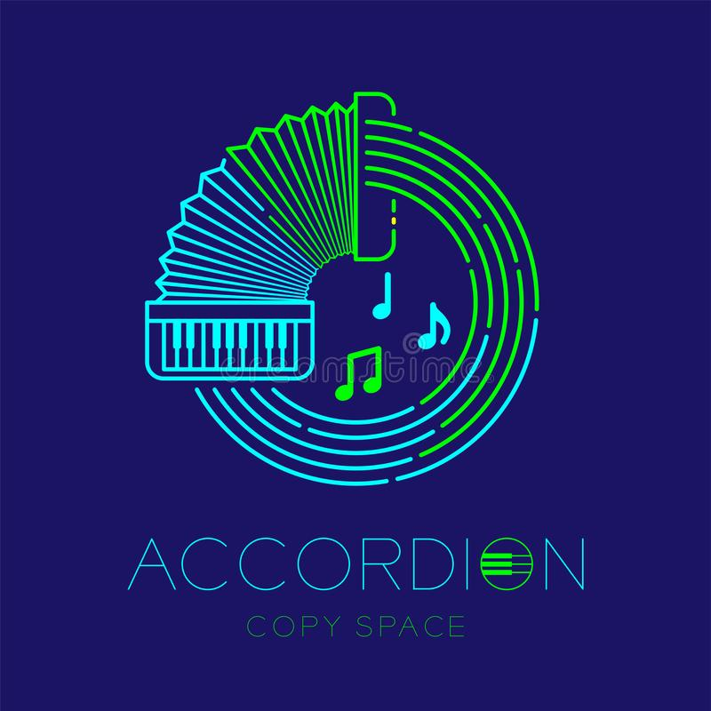 Accordion, music note with line staff circle shape logo icon outline stroke set dash line design illustration isolated on dark. Blue background with keyboard royalty free illustration