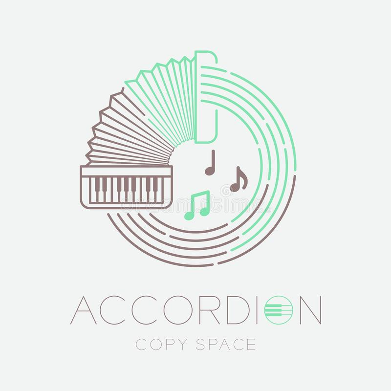 Accordion, music note with line staff circle shape logo icon outline stroke set dash line design illustration isolated on grey. Background with keyboard text stock illustration