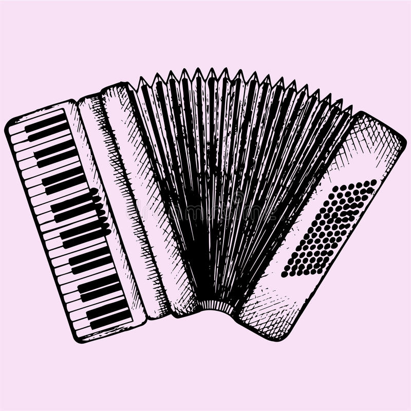Accordion. Musical instrument doodle style sketch illustration hand drawn vector royalty free illustration