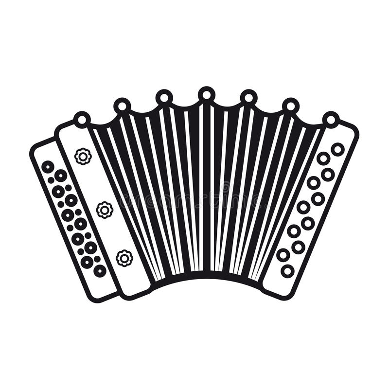 Accordion. Musical instrument for kid. Baby toy. Cartoon style vector illustration