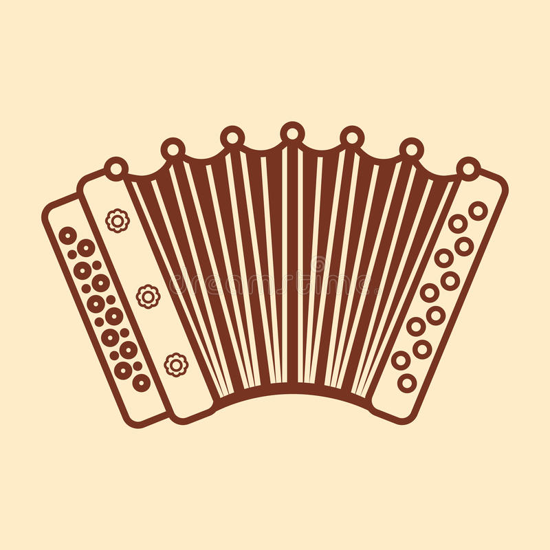 Accordion. Musical instrument for kid. Baby toy. Cartoon style stock illustration