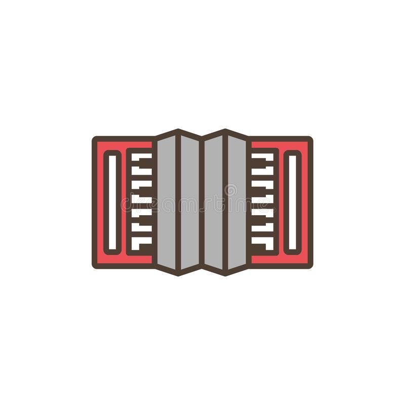 Accordion oktoberfest icon line filled. Accordion music oktoberfest icon line filled vector illustration royalty free illustration