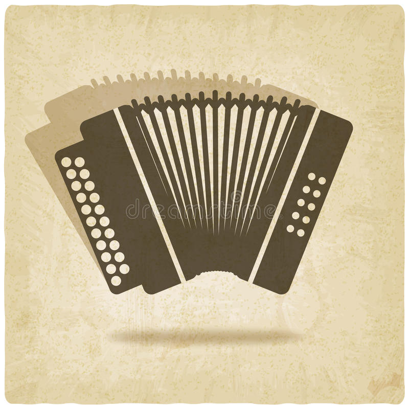 Accordion old background. Vector illustration royalty free illustration
