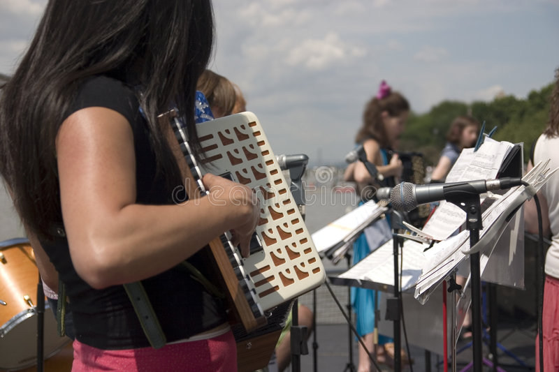 Download Accordion orchestra stock image. Image of active, microphone - 949287