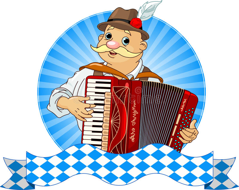 Accordion Player. With stripe for text stock illustration