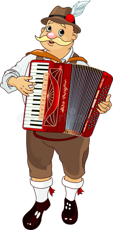 Accordion Player. Germany musician Playing Accordion stock illustration