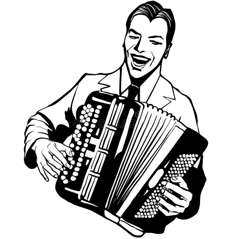 Accordion player. Laughing- Vector illustration vector illustration