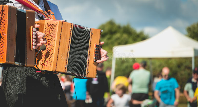 Download Accordion player on stage stock photo. Image of performing - 82158518