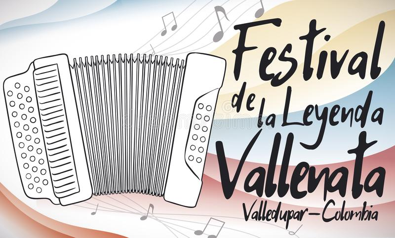 Accordion Playing Music with Colombian Colors for Vallenato Legend Festival, Vector Illustration. Banner with an accordion playing a beautiful melody for royalty free illustration
