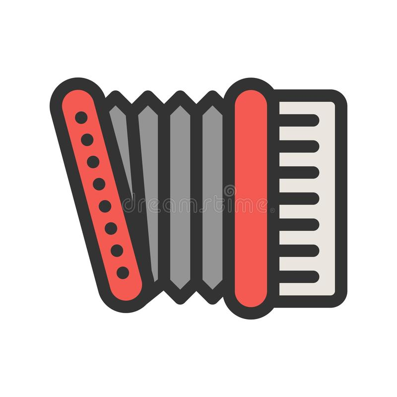 Accordion. Red, music icon vector image. Can also be used for oktoberfest. Suitable for web apps, mobile apps and print media stock illustration