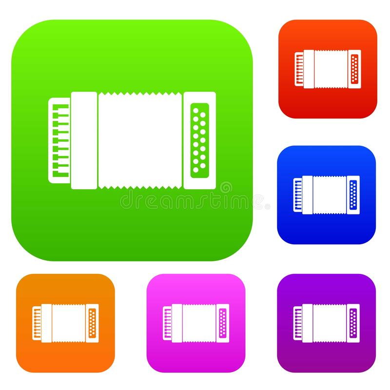 Accordion set collection. Accordion set icon in different colors isolated vector illustration. Premium collection vector illustration