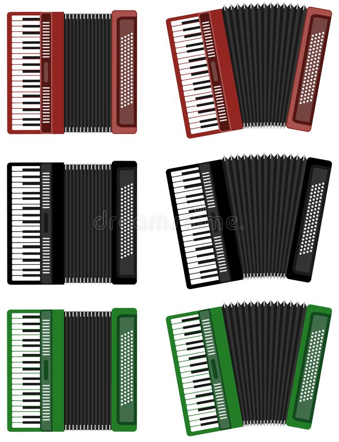 Accordion, set of color realistic accordions isolated on white. Cartoon illustration of an accordion royalty free illustration