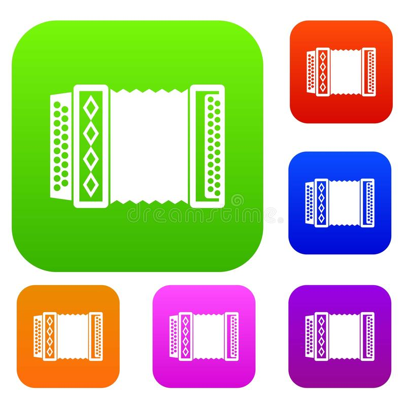 Accordion set collection. Accordion set icon in different colors isolated vector illustration. Premium collection royalty free illustration