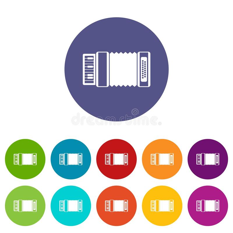 Accordion set icons. In different colors isolated on white background stock illustration