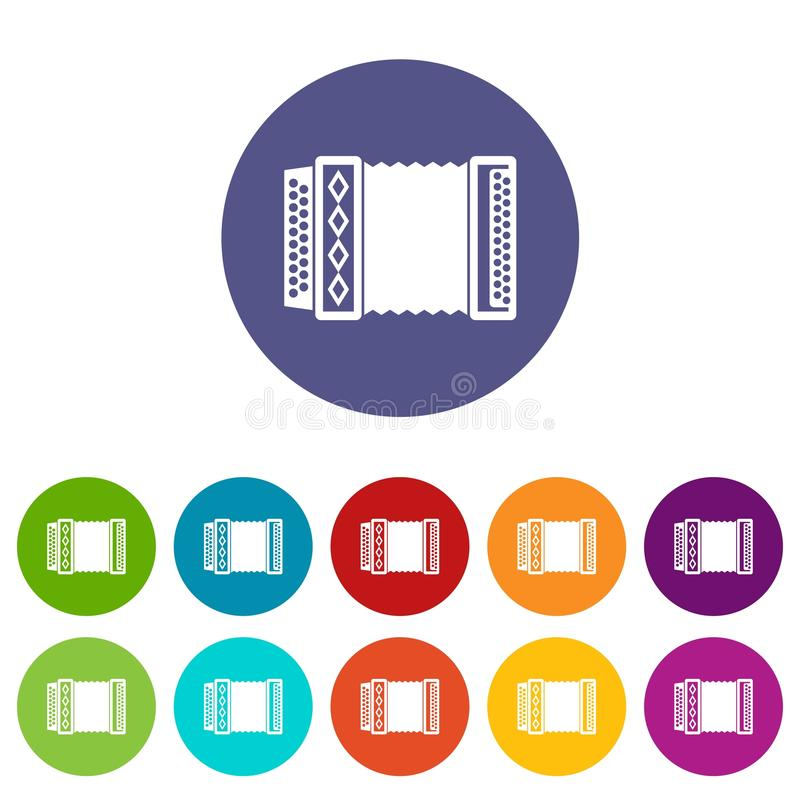Accordion set icons. In different colors isolated on white background royalty free illustration