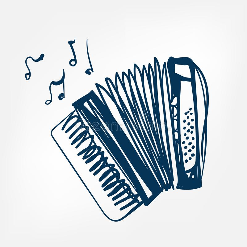 Accordion sketch vector illustration isolated design element. Isolated stock illustration