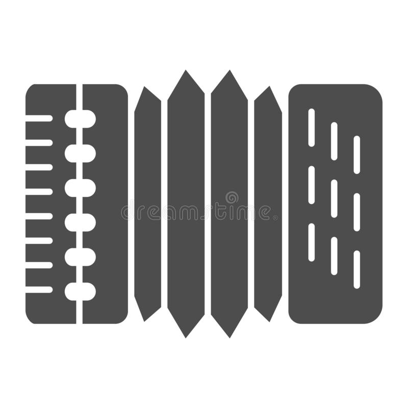 Accordion solid icon. Harmonica vector illustration isolated on white. Musical instrument glyph style design, designed. For web and app. Eps 10 royalty free illustration
